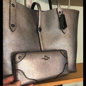 Coach metallic Market Tote & wallet bundle